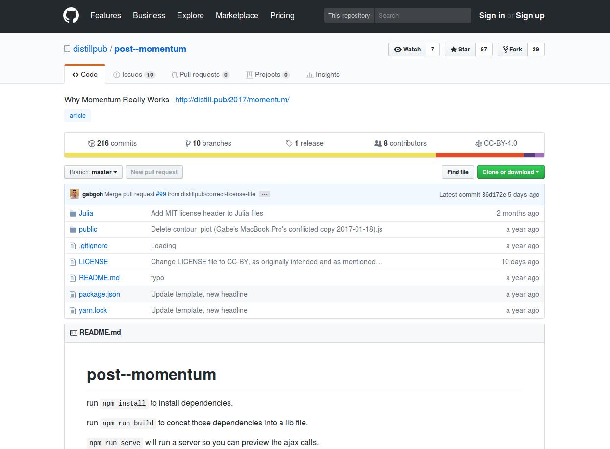 Figure 2.7. Capture d'écran du dépôt d'un article de la revue Distill sur la plate-forme GitHub, avec la liste des fichiers et dossiers, et d'autres informations.