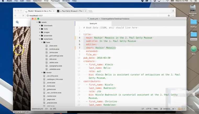 Figure 2.4. Capture d'écran d'une vidéo de démonstration du workflow de Getty Publications (https://www.youtube.com/watch?v=VVYe0qR5DnM).