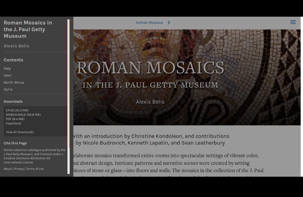 """Figure 2.5. Capture d'écran de la version web du livre """"Roman Mosaics"""" (http://www.getty.edu/publications/romanmosaics/)."""
