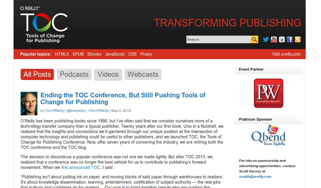 Figure 2.2. Capture d'écran du site consacré à Tools of Change for Publishing.