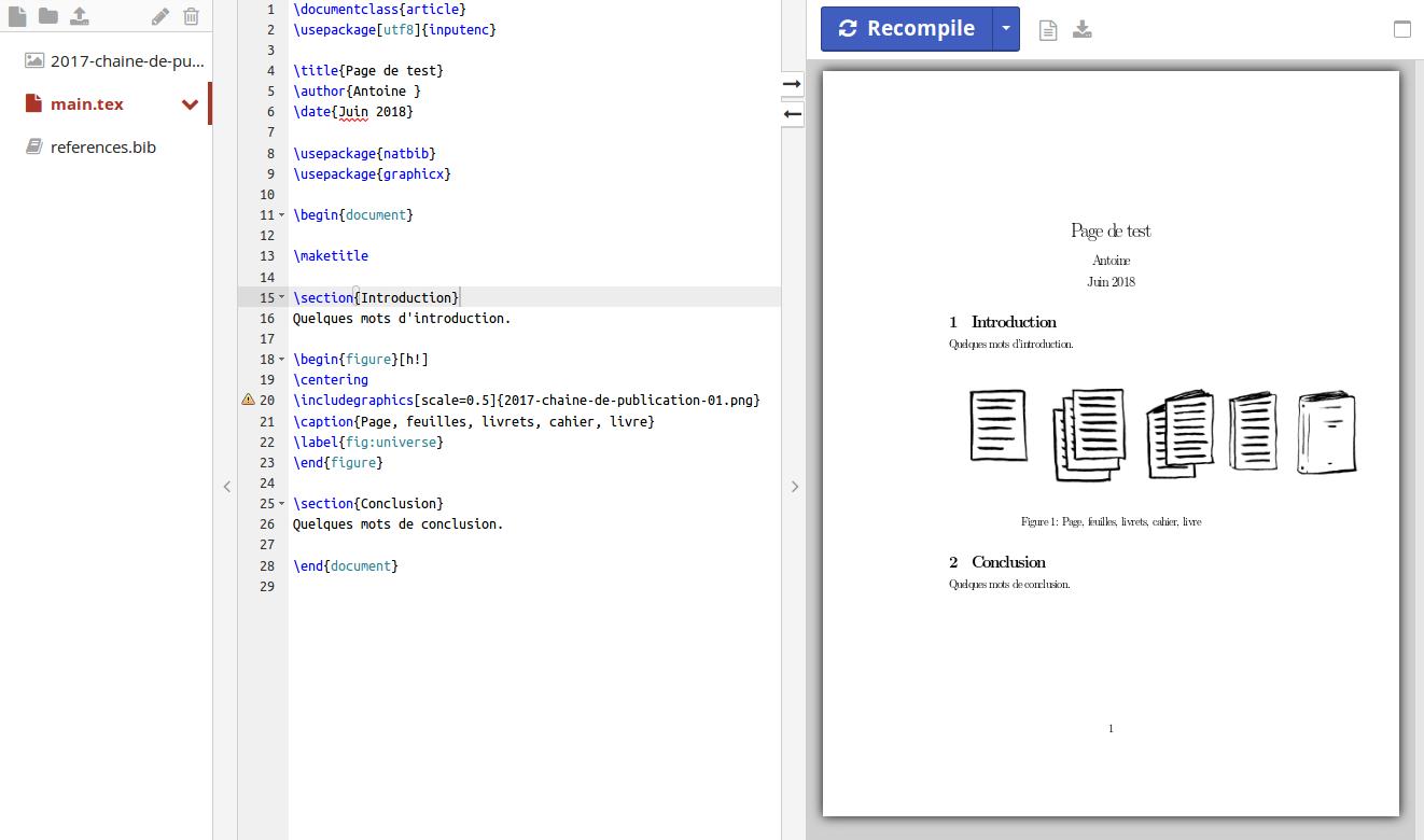 Figure 3.6. Exemple d'un document TeX et le rendu graphique après compilation. Capture d'écran du service en ligne ShareLaTeX.