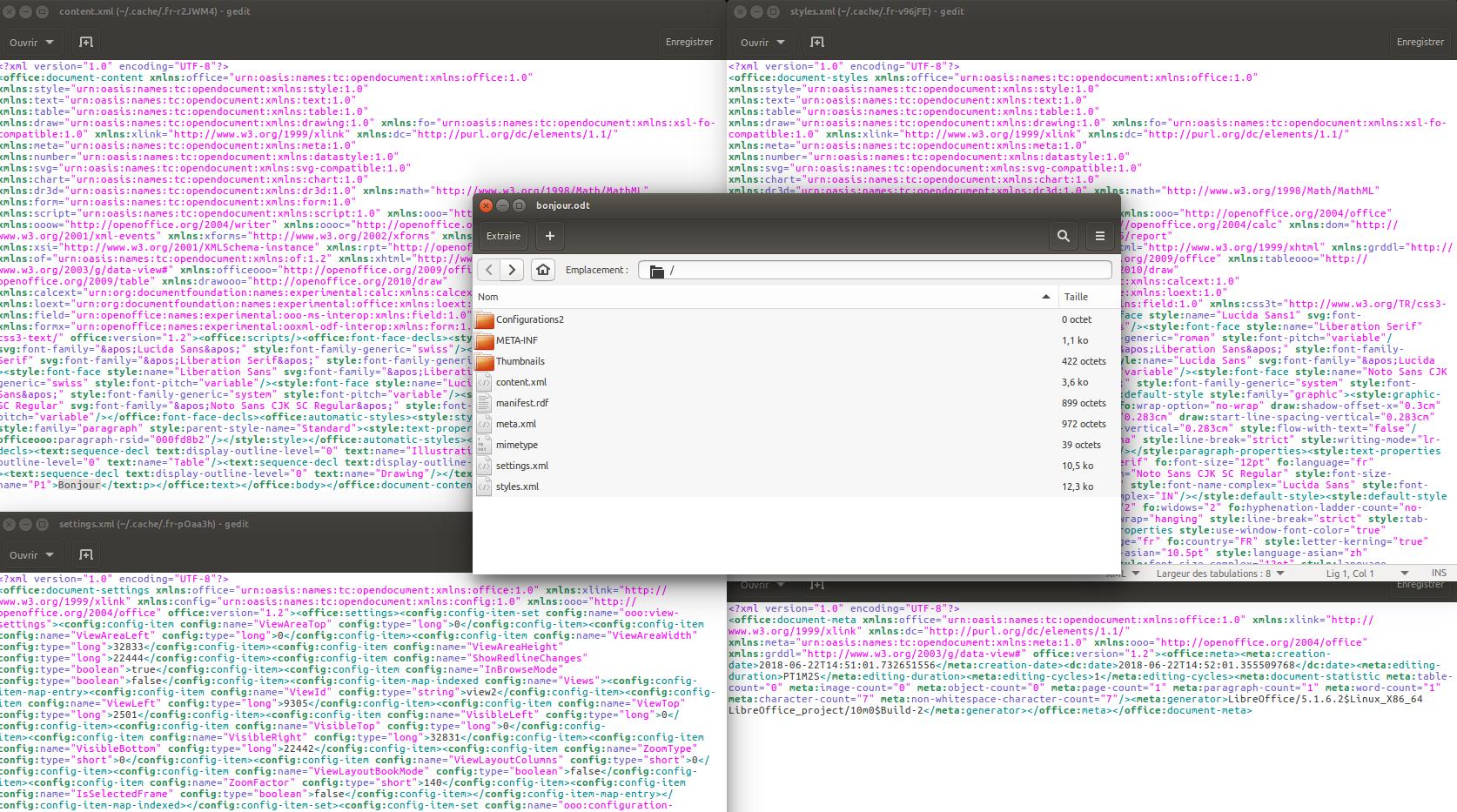 Figure 3.1. Affichage des fichiers XML qui composent un fichier .odt ne comportant que le mot Bonjour.