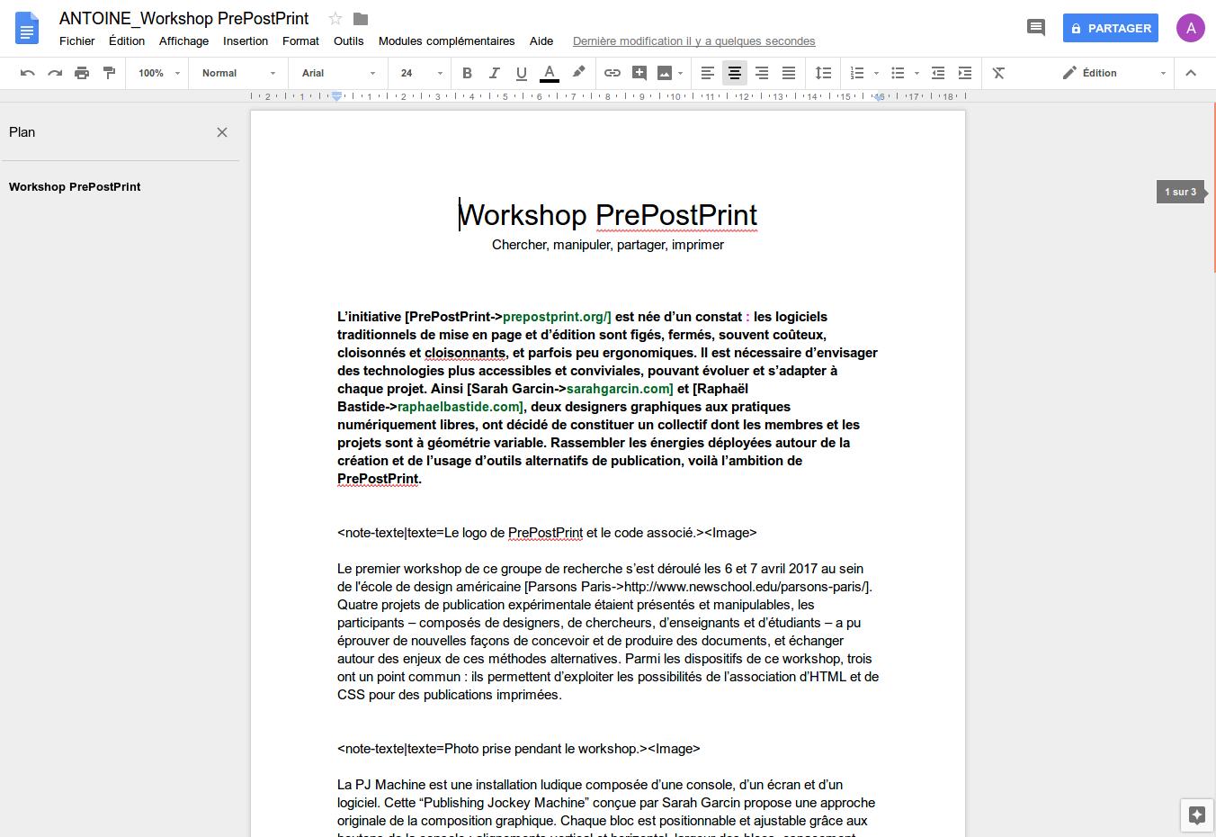 Figure 3.3. Capture d'écran de l'interface de Google Docs, le traitement de texte de Google Drive.